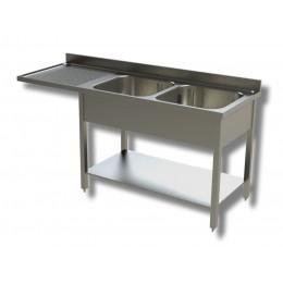 Lavello / Lavatoio 2 vasche in acciaio inox con vano lavastoviglie SX 160x60x85h cm