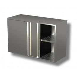 Pensili in acciaio inox con porte scorrevoli e sgocciolatoio altezza 80 cm-Pensile 140x40x80h cm porte scorrevoli e sgocciolatoio