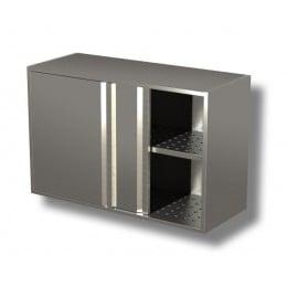 Pensili in acciaio inox con porte scorrevoli e sgocciolatoio altezza 80 cm-Pensile 150x40x80h cm porte scorrevoli e sgocciolatoio
