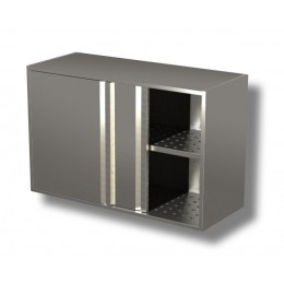 Pensili in acciaio inox con porte scorrevoli e sgocciolatoio altezza 65 cm-Pensile 150x40x65h cm porte scorrevoli e sgocciolatoio