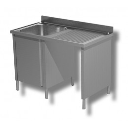 Lavello / Lavatoio 1 vasca in acciaio inox armadiato con vano pattumiera DX 140x60x85h cm