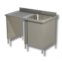 Lavello / Lavatoio 1 vasca in acciaio inox armadiato con vano pattumiera SX 140x70x85h cm