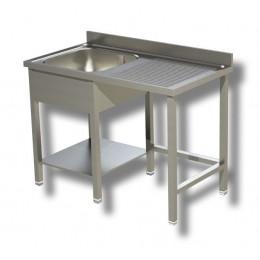 Lavello / Lavatoio 1 vasca in acciaio inox su gambe con vano pattumiera DX 140x70x85h cm