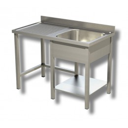 Lavello / Lavatoio 1 vasca in acciaio inox su gambe con vano pattumiera SX 120x70x85h cm