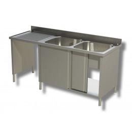 Lavello / lavatoio 2 vasche in acciaio inox armadiato con vano pattumiera sx 1600x600x850h mm