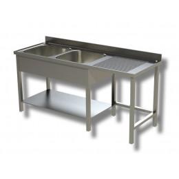 Lavello / Lavatoio 2 vasche in acciaio inox su gambe con vano pattumiera DX 180x70x85h cm