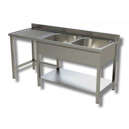Lavello / Lavatoio 2 vasche in acciaio inox su gambe con vano pattumiera SX 200x70x85h cm