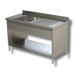 Lavello / lavatoio in acciaio inox 1 vasca con sgocciolatoio dx profondità 600 mm 1400x600x850h mm