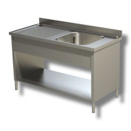Lavello / Lavatoio in Acciaio Inox 1 Vasca con sgocciolatoio SX profondità 70 cm 150x70x85h cm