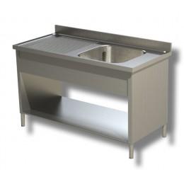 Lavello / Lavatoio in Acciaio Inox 1 Vasca con sgocciolatoio SX profondità 60 cm 130x60x85h cm