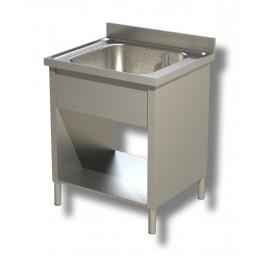 Lavello / Lavatoio in Acciaio Inox 1 Vasca su fianchi con ripiano e alzatina profondità 60 cm 50x60x85h cm
