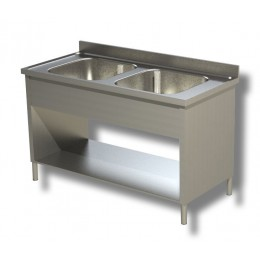 Lavello / Lavatoio in Acciaio Inox 2 Vasche su fianchi con ripiano e alzatina profondità 60 cm 100x60x85h cm