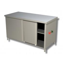 Tavolo armadiato passante con porte scorrevoli profondità 70 cm-Tavolo Armadiato passante in acciaio inox 200x70 cm
