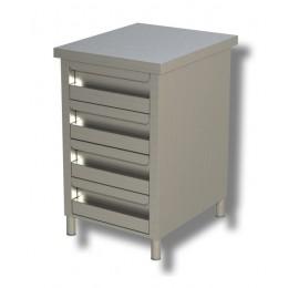 Cassettiera in acciaio inox 4 cassetti 50x70x85h cm
