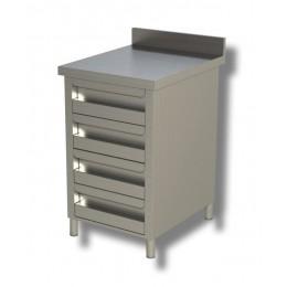 Cassettiera in acciaio inox 4 cassetti e alzatina 50x60x85h cm