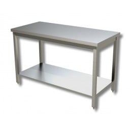 Tavolo in acciaio inox su gambe con piano di fondo 100x60 cm