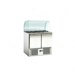 Banco frigo Saladette refrigerate in acciaio inox con vetro curvo 2xGN1/1 + 3xGN1/6