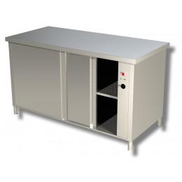 Tavolo da lavoro in acciaio inox Armadiato Caldo con porte scorrevoli su 2 lati 140x60x85h cm