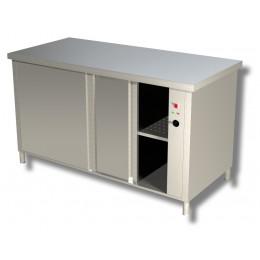 Tavolo da lavoro in acciaio inox Armadiato Caldo con porte scorrevoli su 2 130x70x85h cm