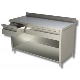 Tavoli con fianchi, schienale, alzatina e cassetti profondità 70 cm-Tavolo su fianchi 200x70 cm in Acciaio 2 cassetti