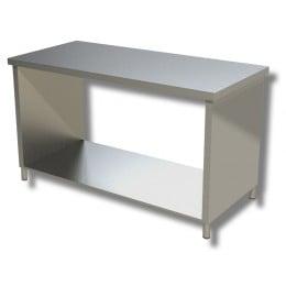 Tavolo in acciaio inox con fianchi su ripiano profondità 600 mm 700x600 mm