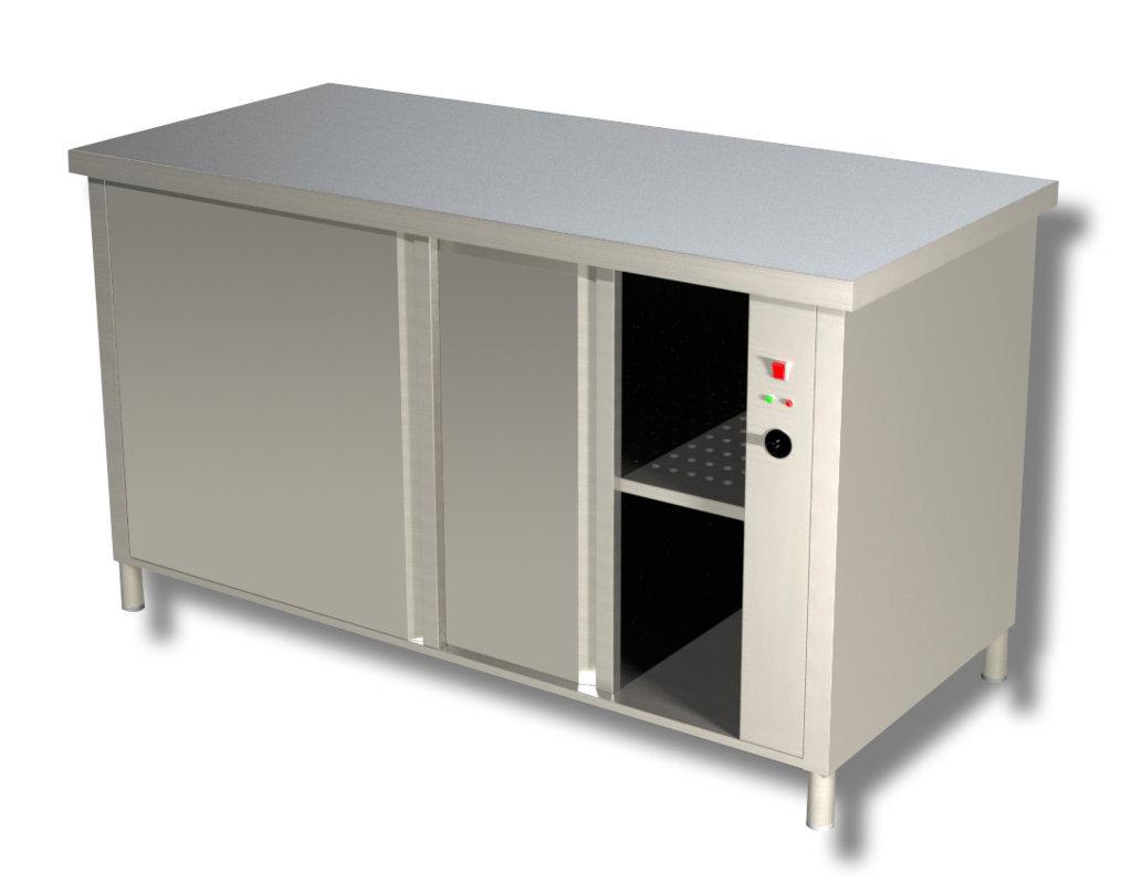 Tavolo da lavoro in acciaio inox Armadiato Caldo profondità 600 mm 1400x600x850h mm